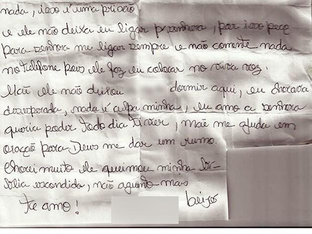 Mulher, que ficou 2 anos mantida em cativeiro pelo marido, afirma em carta que suspeito controlava ligações (Foto: Divulgação)
